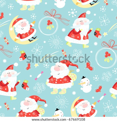 Seamless pattern santa claus - stock vector