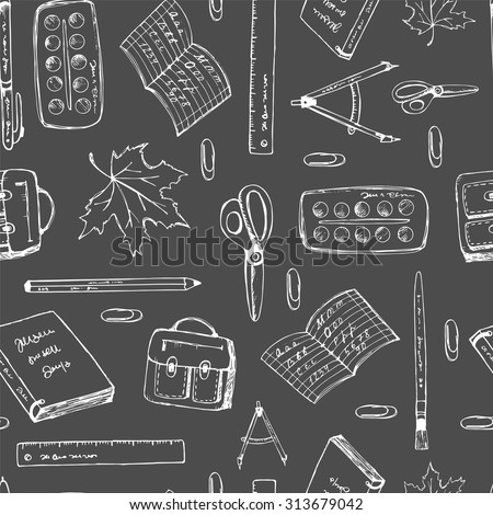 Seamless pattern school. Back to school illustration.