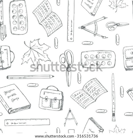 Seamless pattern school. Back to school illustration. - stock vector