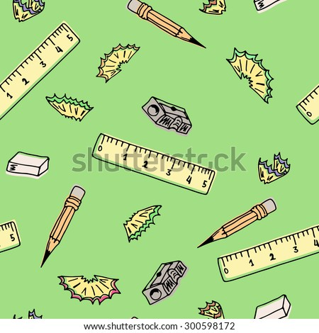 Seamless pattern school supplies. Hand drawing vector illustration