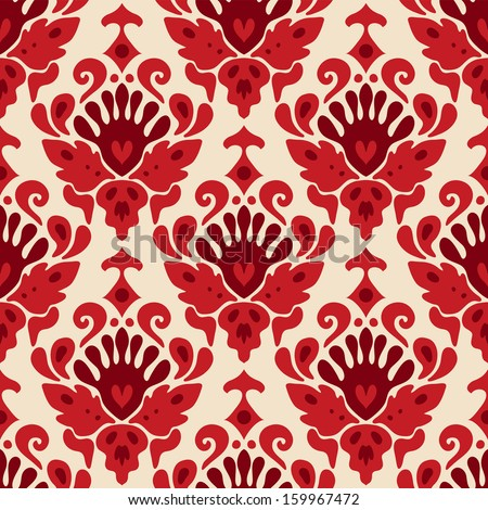 Seamless pattern scull damask vector - stock vector