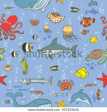 Seamless pattern sea life  animals painted by hand as a simple child's drawing on a blue background - stock vector