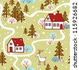 Seamless Pattern. seamless Christmas pattern with houses, trees, deer, hare .seamless pattern with New Year's.Winter. Village. - stock vector