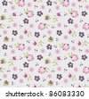 seamless pattern set in naive floral style - stock vector