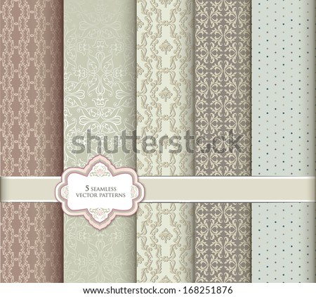 Seamless pattern set in retro style. Abstract vector textured backgrounds for scrapbook.  - stock vector