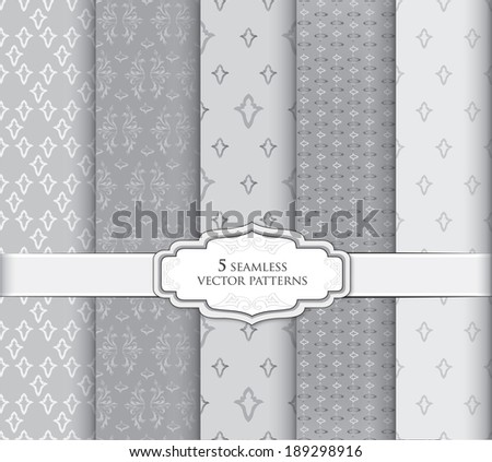 Seamless pattern set in vintage style. Abstract vector texture. Geometric backgrounds collection.  - stock vector