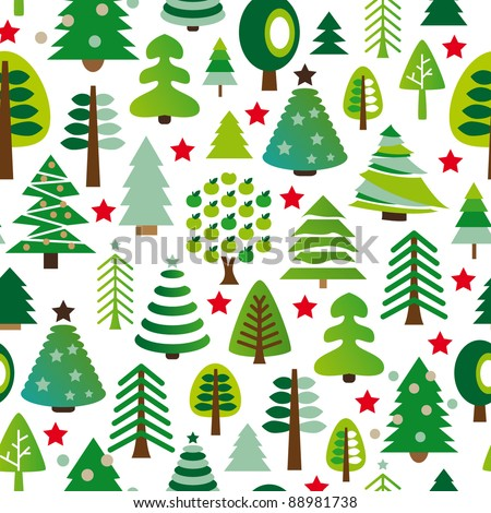 Seamless pattern set of christmas trees background in vector - stock vector