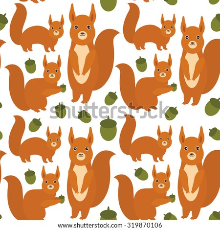 Seamless pattern Set of funny red squirrels with fluffy tail with acorn isolated on white background. Vector - stock vector