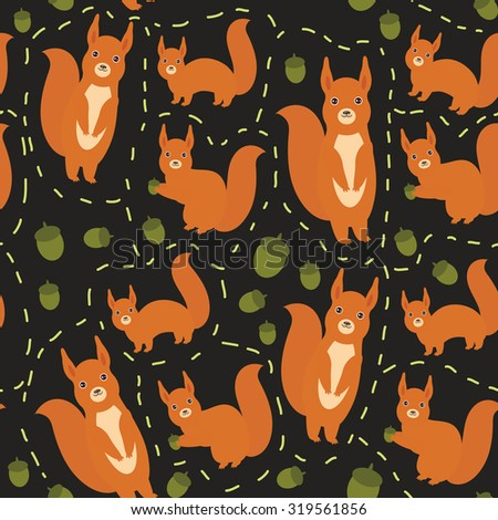 Seamless pattern Set of funny red squirrels with fluffy tail with acorn on black background. Vector - stock vector