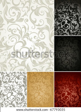 Seamless Pattern set of six colors - stock vector