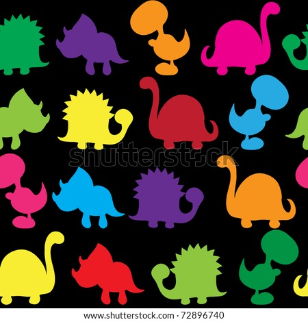 Seamless pattern -  Silhouette of cute dinosaurs - stock vector