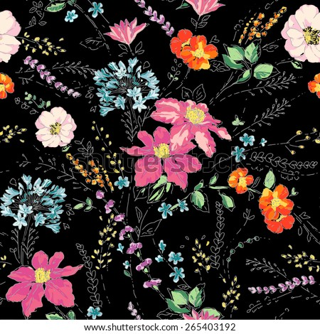 Seamless pattern,sketch flowers,floral pattern,chic vectors,print and pattern - stock vector