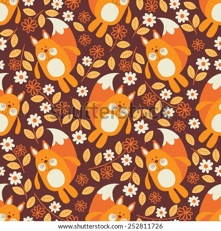 Seamless pattern. Squirrel. - stock vector