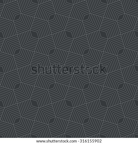 Seamless pattern. Stylish modern geometric texture. Repeating polygonal shapes, lines, rhombuses. Abstract monochrome background. Vector element of graphic design - stock vector