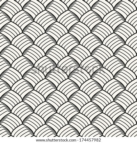 Seamless pattern. Stylish monochrome ornament. Geometric background with arches. Vector repeating texture - stock vector