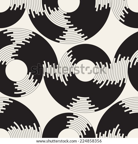 Seamless pattern. Stylish texture with rings. Vector repeating background with rings and waves