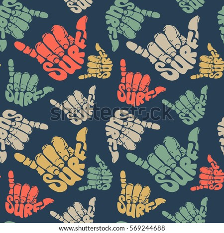 seamless pattern surfing hand sign stock vector 569244688