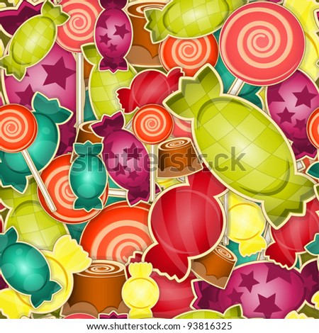 seamless pattern -  sweet candy on  colored  background - vector illustration - stock vector