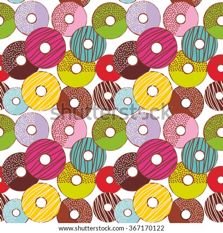 Seamless pattern Sweet donuts set with icing and sprinkls isolated, pastel colors on white background. Vector - stock vector