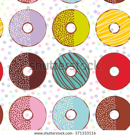 Seamless pattern Sweet donuts set with icing and sprinkls isolated, pastel colors on white polka dot background. Vector - stock vector