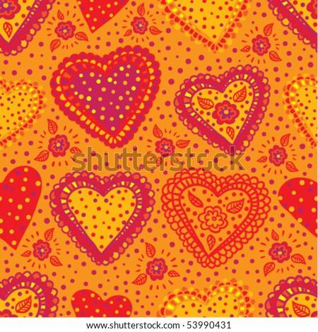 Seamless pattern Sweet Hearts - stock vector