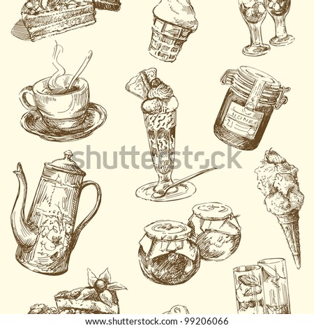seamless pattern - sweets, coffee - stock vector