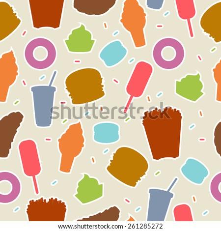Seamless pattern tasty fast food vector illustration - stock vector