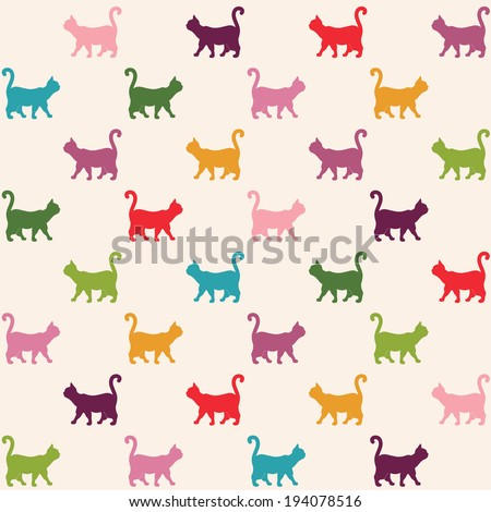 Seamless pattern. Texture with colorful cats curved tails.  - stock vector