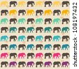 Seamless pattern. Texture with colorful elephants. Can be used for textile, website background, book cover, packaging. - stock vector