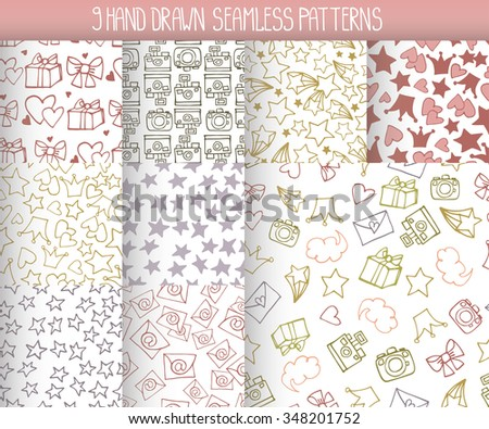 Seamless  pattern.Trendy Hand drawing blog background with linear doodle design elements. Vector  illustration,vintage sketch.Wallpaper,backdrop, cute feminine decoration.Pastel colors - stock vector