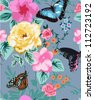 seamless pattern,tropical floral,butterfly,romantic background - stock vector