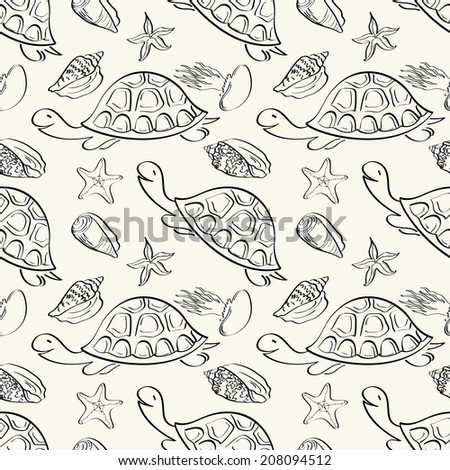 Seamless pattern, turtles, seashells, starfish and jellyfish black contours isolated on white background. Vector - stock vector