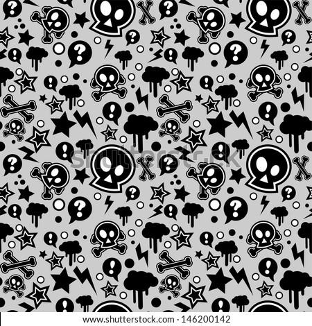 Seamless pattern, urban or punk pop feel, vector illustration - stock vector