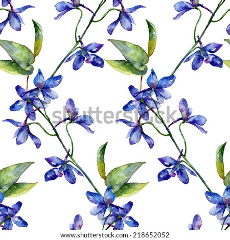 Seamless pattern. Vector floral background. Blue delphinium - stock vector