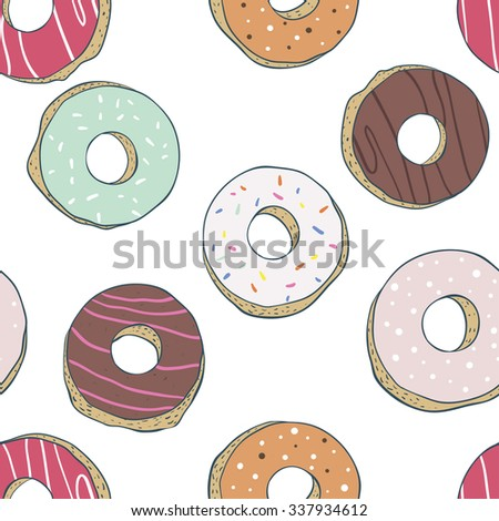 Seamless pattern vector hand drawing  donuts - stock vector