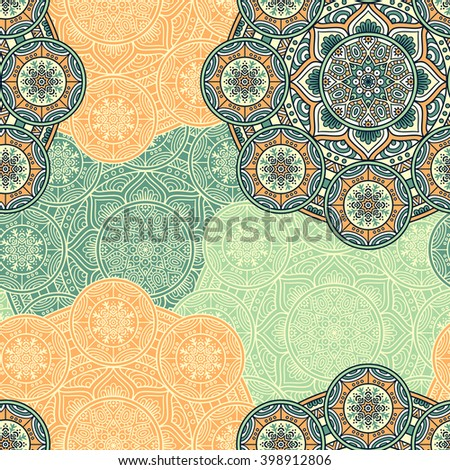 Seamless pattern. Vintage decorative elements. Hand drawn background. Islam, Arabic, Indian, ottoman motifs. Perfect for printing on fabric or paper