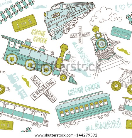 Seamless pattern vintage trains and railroad doodles - stock vector