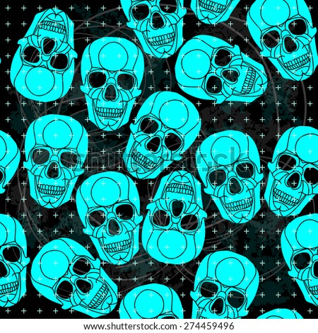 Seamless pattern voodoo cartoon with different skull .