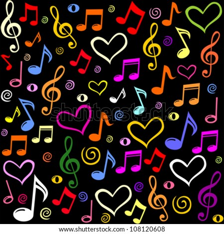 Seamless Pattern Wallpaper Of Musical Notes Vector Illustration