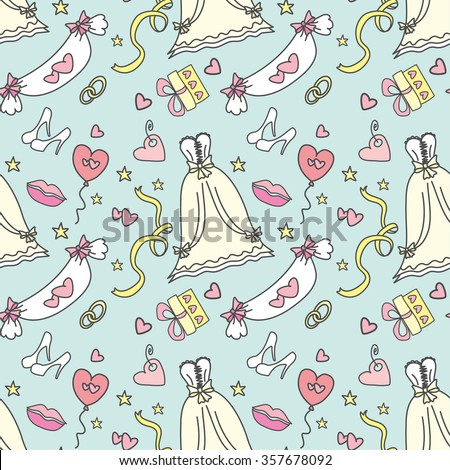 Seamless pattern -Wedding, marriage, bridal. Hand drawn vector background - stock vector