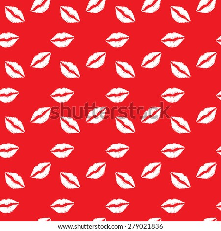 Seamless pattern white lips on red  background. Seamless pattern can be used for wallpaper, pattern fills, web page backgrounds, surface textures. - stock vector