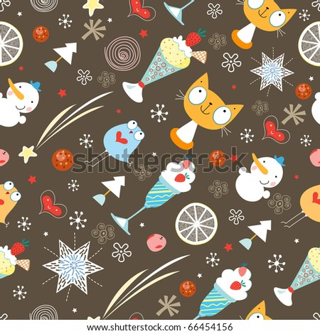 Seamless pattern winter toys - stock vector