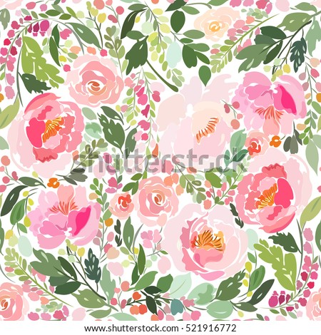 Seamless pattern with a bouquet of peonies, roses, smaller flowers and leaves in bright colors on a white background.