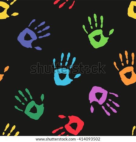 Seamless pattern with a hand prints - stock vector