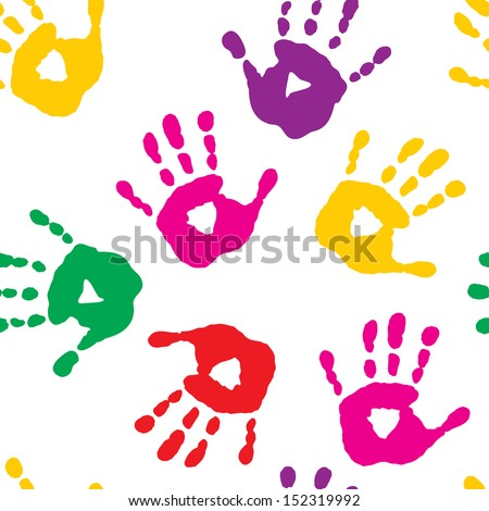 Seamless pattern with a handprints - stock vector