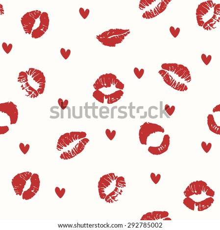 Seamless pattern with a lipstick kiss prints on white background. Vector background - stock vector