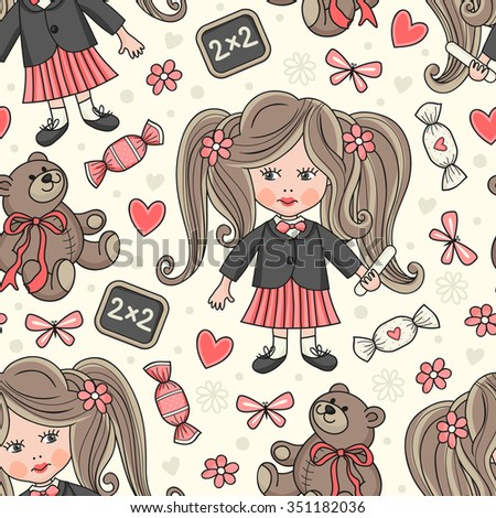Seamless pattern with a schoolgirl. - stock vector
