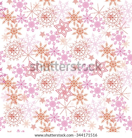 Seamless pattern with a snowflakes. Vector illustration.