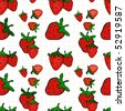 Seamless pattern with a strawberry (vector) - stock vector