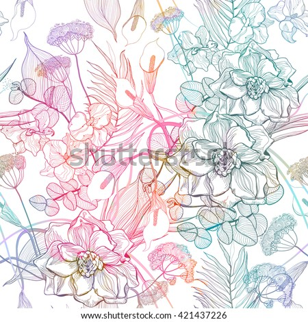 Seamless pattern with abstract bright flowers. Vector, EPS10. - stock vector